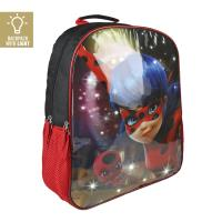 MOCHILA ESCOLAR LUCES  LADY BUG